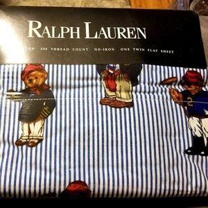 Ralph Lauren Polo Bear Striped Twin Flat Sheet